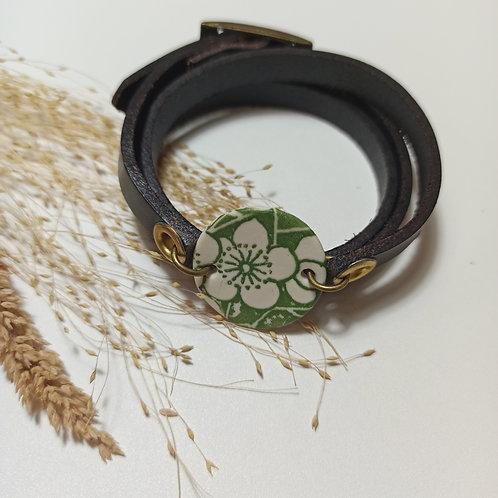 Bracelet Cuir et Porcelaine