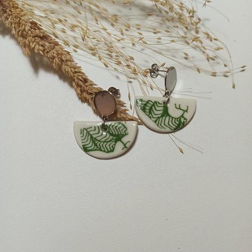 Boucles d'oreilles florale verte
