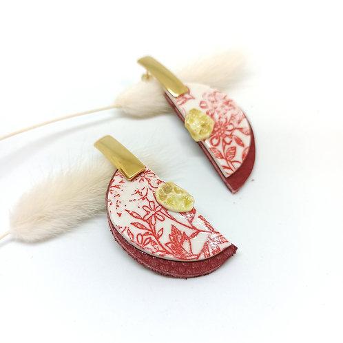 Boucles d'oreilles cuir et porcelaine