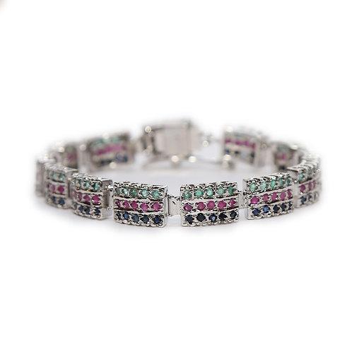 Ruby, Emerald, Blue Sapphire & Pure Silver Bracelet