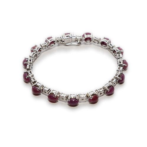 Ruby & Pure Silver Bracelet