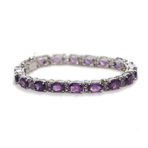 Amethyst & Pure Silver Bracelet