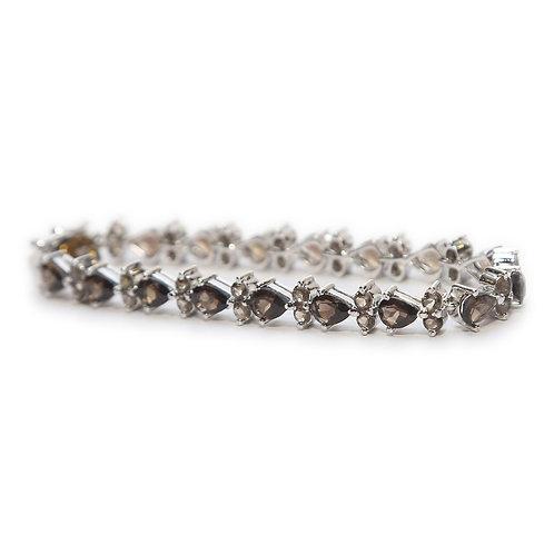 Smoky Quartz & Pure Silver Bracelet