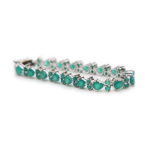 Green Onyx & Pure Silver Bracelet