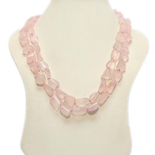 Rose Quartz Double String Necklace