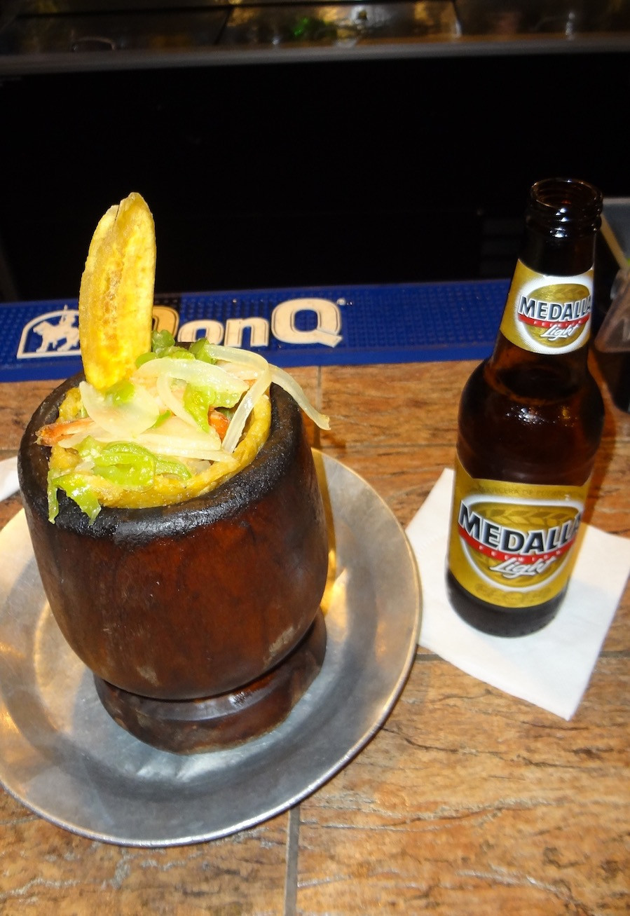 Mofongo with Shrimp and a Garlic Butter Sauce & Puerto Rican Beer