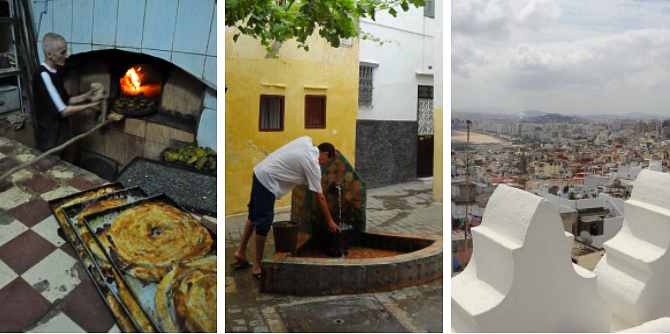 Left: Community Bread Ovens; Center: Community Fountain; Right: View from Roof