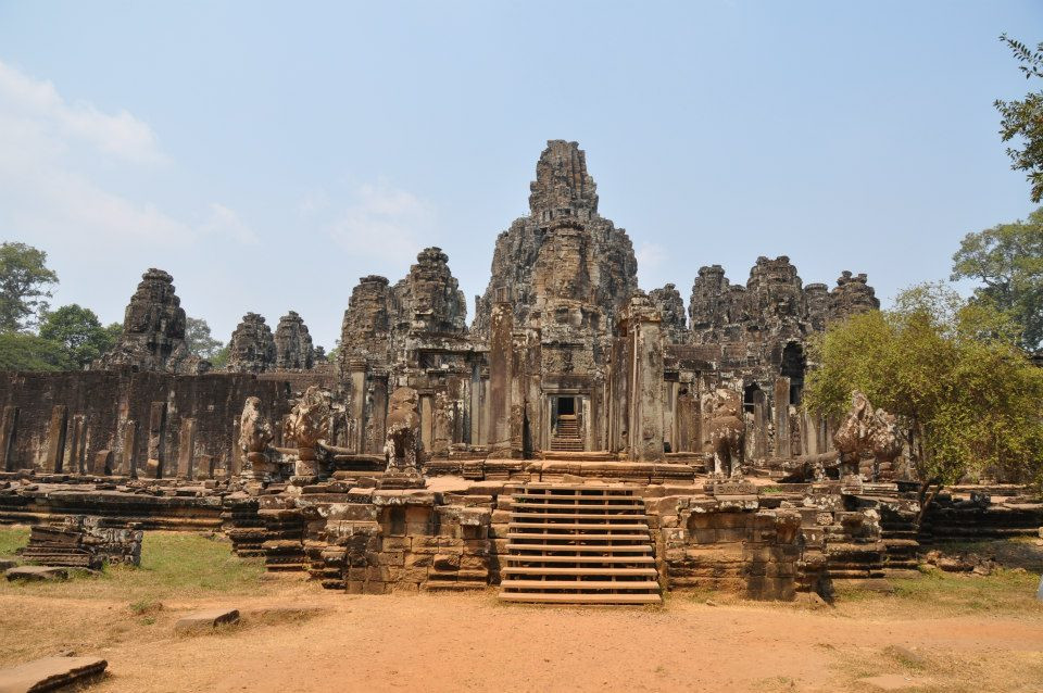 The Cambodian Temple of Bayon with Its 54 Face-Covered Towers