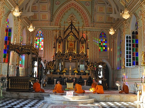 Monks at the Gothic Temple (Ayutthaya, Thailand)