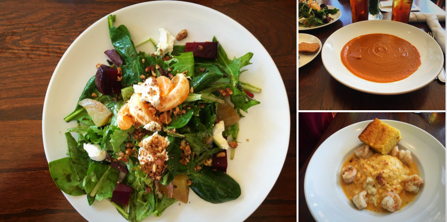 Beet Salad, Seasonal Soup, Shrimp and Grits