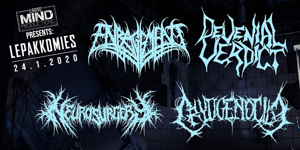Enragement, Devenial Verdict, Cryogenocide & Neurosurgery