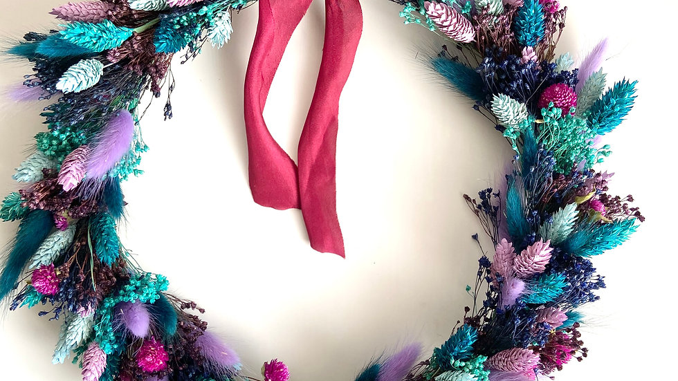 DRIED FLORAL WREATH - The Purple One