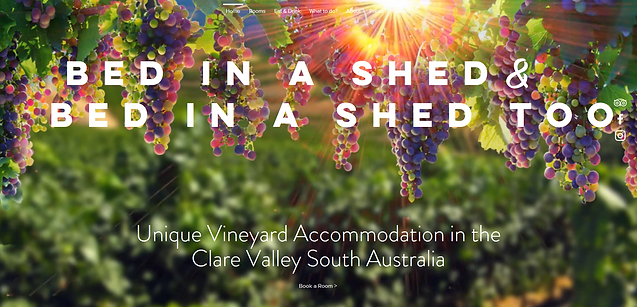 Clare Valley accommodation website. The bed in a shed and bed in a shed too re premium country stays in the heart of theClar Valley wine region, and are aperfect relaxing stay to tastethe wine, explre clare valley and capture the contry feel te Barossa Valley has to ofer