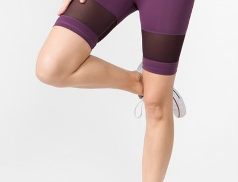 Purple Mesh Biker Tights