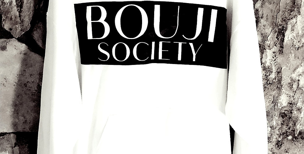 Unisex White Bouji Society Hoodie - Bouji Society Fashion and Clothing - www.boujisociety.com