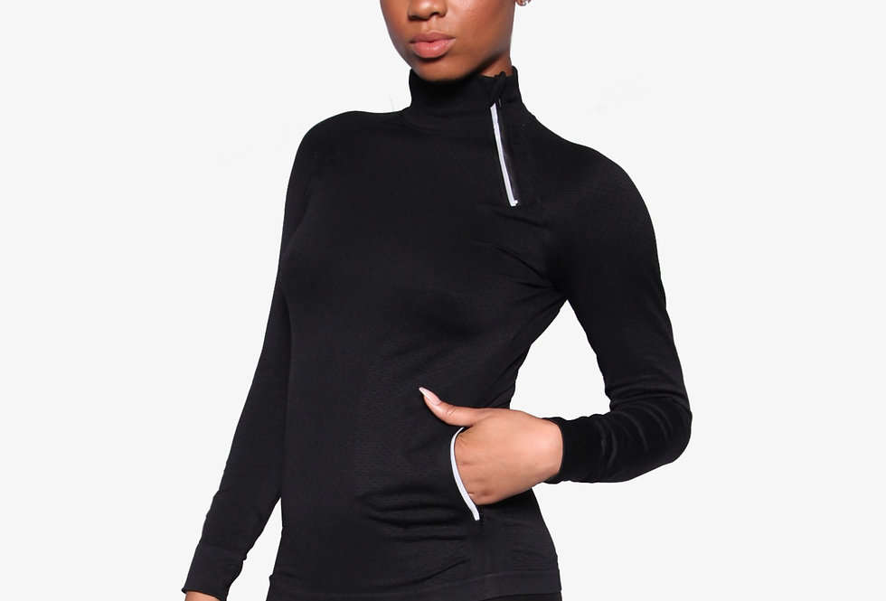 Black Double Zipper Work Out Pull Over - Bouji Society Fashion and Clothing - www.boujisociety.com
