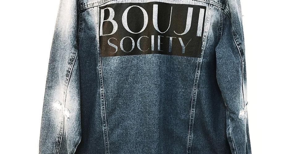Unisex Denim Bouji Society Jacket back - Bouji Society Fashion and Clothing - www.boujisociety.com