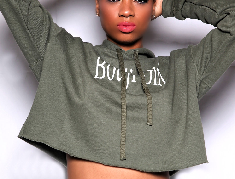 Cropped Bouji Girl Hoodie Front - Bouji Society Fashion and Clothing - www.boujisociety.com