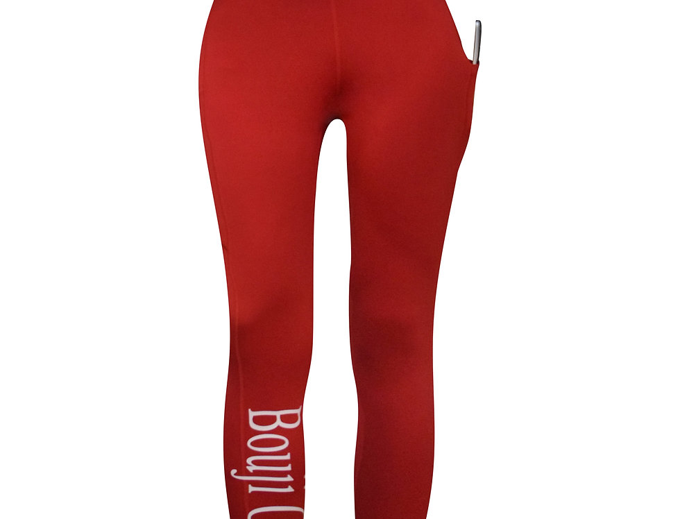Red High Waist Pocket Leggings front - Bouji Society Fashion and Clothing - www.boujisociety.com