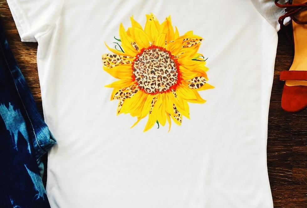 Leopard Print Sunflower Tee