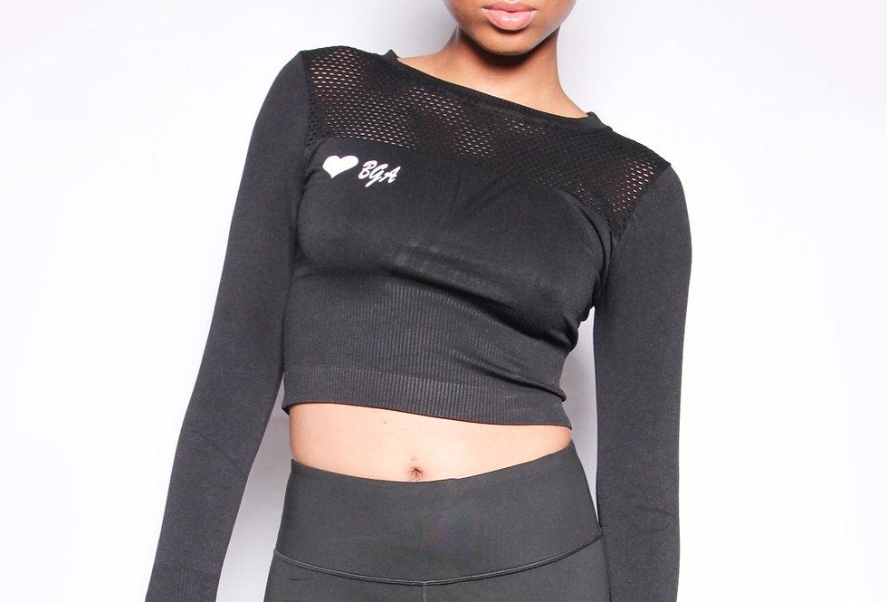 Black Mesh Long Sleeve Top - Bouji Society Fashion and Clothing - www.boujisociety.com