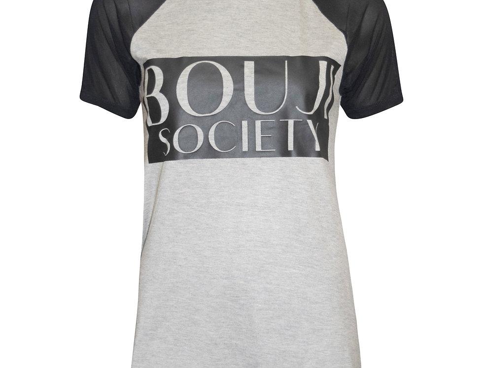 Grey Meshed Sleeves Tee front - Bouji Society Fashion and Clothing - www.boujisociety.com