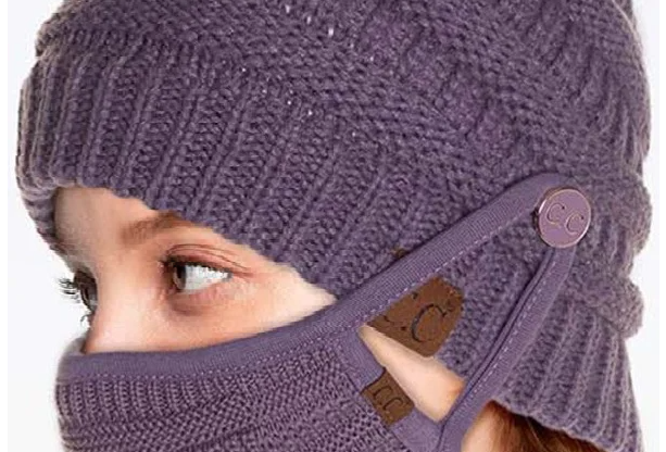 Violet Beanie and Mask Set