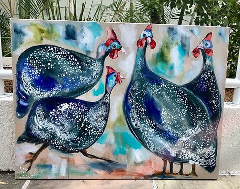 Original Acrylic Painting Guinea Fowls