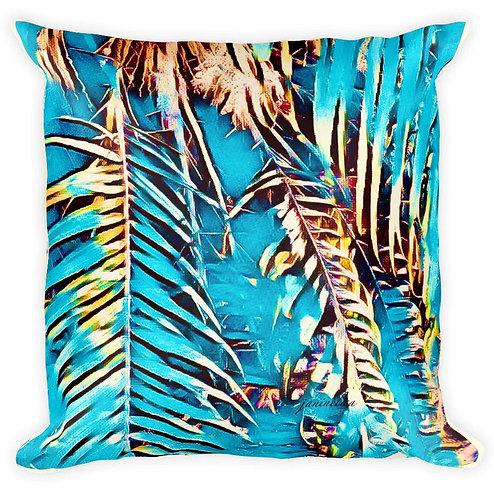 Aqua Coconut Palms Cushion