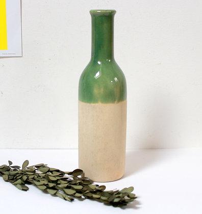 Vase bouteille en gré émaillé