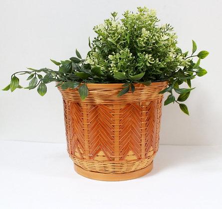 Cache-pot vintage bambou et rotin
