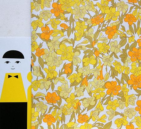 Papier peint vintage 1970 fleurs jaunes