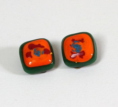 Clips en verre orange et vert