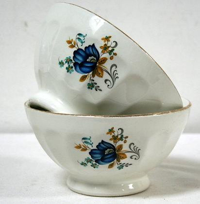Deux bols fleurs bleues