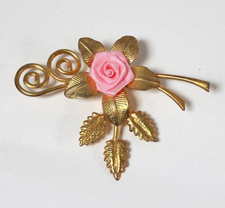 Broche vintage rose et or