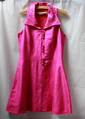 Robe chic en soie sauvage rose