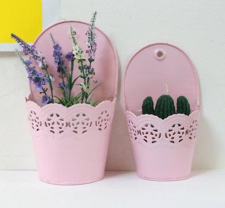 2 cache-pots en métal rose