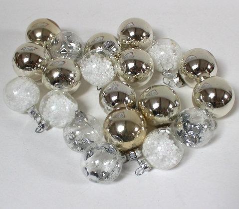 Boules en verre agent et blanc