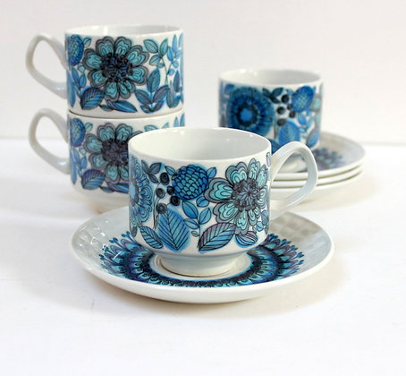 Tasses à café rétro bleues