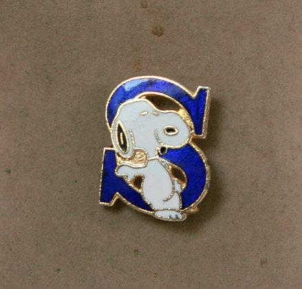 "Broche vintage Snoopy lettre ""S"""