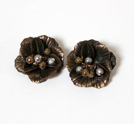 Boucles d'oreilles grosses fleurs bronze