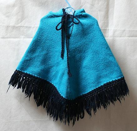 Poncho rétro bleu
