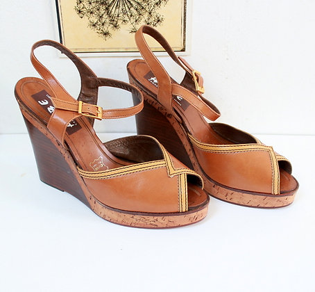 Sandales compensées vintage 70