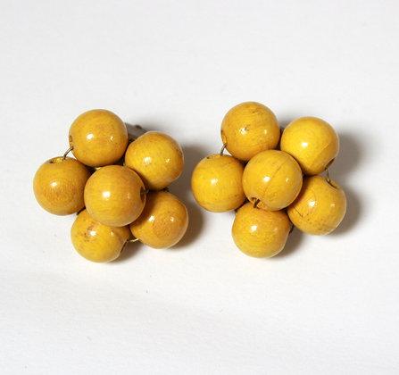 Clips vintage bois jaune