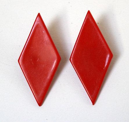 Clips vintage losanges rouges