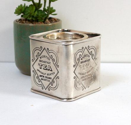 Boîte à thé ancienne métal argenté