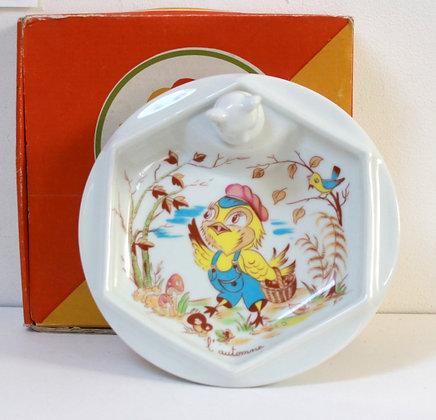 Assiette à bouillie porcelaine de Limoges 70's