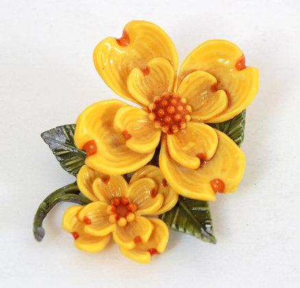 Broche fleurs jaunes