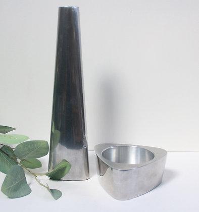Vase et bougeoir en aluminium