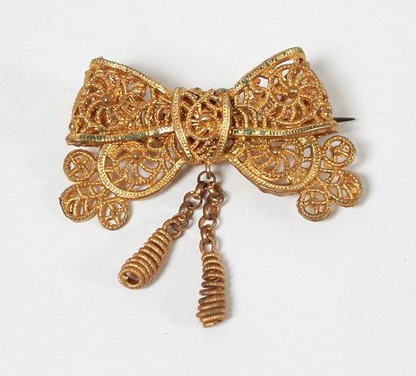 """Broche ancienne """"noeud"""" à pendants"""
